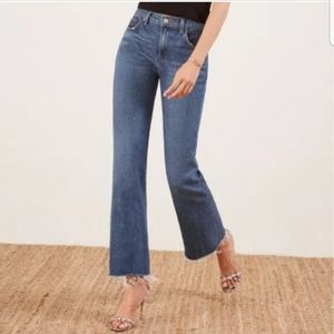 Reformation Cropped Flood Jeans 28 Kasai Wash